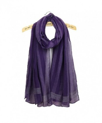 Women Striped Solid Color Scarf Lightweight Wrap Shawls All Match Elegant Scarves - Purple - C71888KQZUO