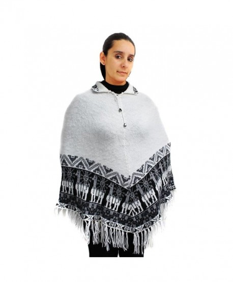 CELITAS DESIGN Poncho Pashmina Wraps crew neck alpaca wool blend made in Peru - White - CP12N3Z99BG