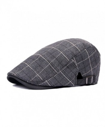 Idopy Cotton Flat Plaid Newsboy Hats Ivy Irish Gatsby Cap - Black - CE12KB5FIUH