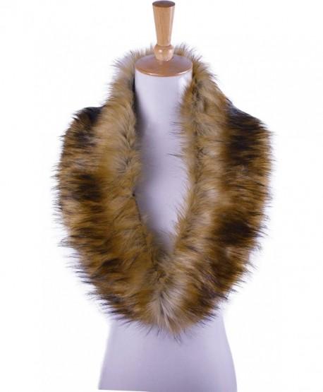 RoRoDox Women Winter Warm Shrug Faux Fur Fluffy Collar Wrap Scarf Neck Shawl - Brown - CT129P4JLE9