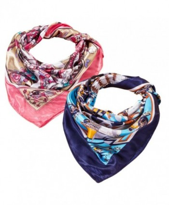 2 PCS Women's Large Satin Square Silk Feeling Hair Scarf 35 x 35 inches (red+navy) - CF185HOTC32