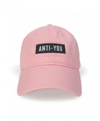 WUE Anti-You Cotton Cap Embroidery Dad Buckle Hat - Light Pink - C3183SL3Q2N