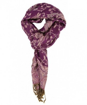 LibbySue-Reversible Tapestry Paisley Pashmina Scarf Shawl Wrap in Rich Colors - Purple - CO11PRRK7MT