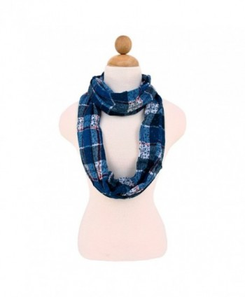 Plaid Stars Print Infinity Loop Fashion Scarf - Different Colors Available - Blue - C011KS2D47N