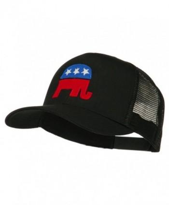 Republican Elephant USA Embroidered Mesh Back Cap - Black - CZ11ND59QW9