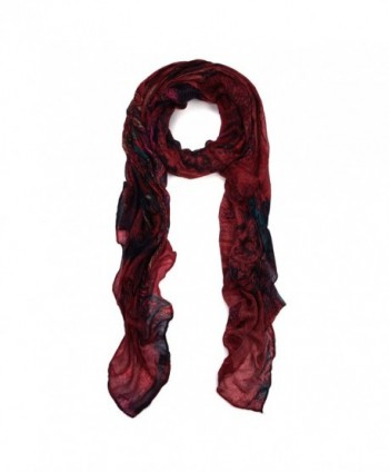 Premium Unique Long Paisley Floral Scarf Wrap - Different Colors Available - Burgundy - C211OPPYHWZ