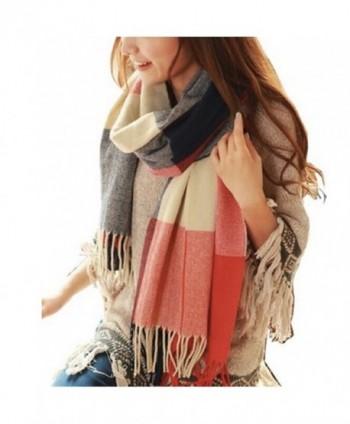 Women's Long Shawl Grid Winter Warm Lattice Large Scarf Pashmina Tartan Wrap - 1 - C9126KIYYRH