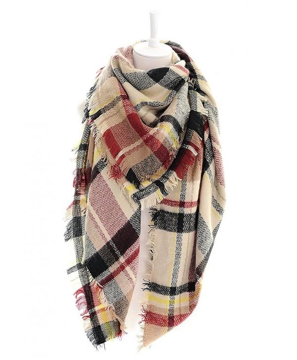 DEARCASE Women's Tassels Soft Plaid Tartan Scarf Winter Large Blanket Wrap Shawl - Black Claret - CM18C792OS3