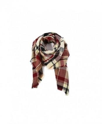 Tartan Blanket Checked Pashmina Claret
