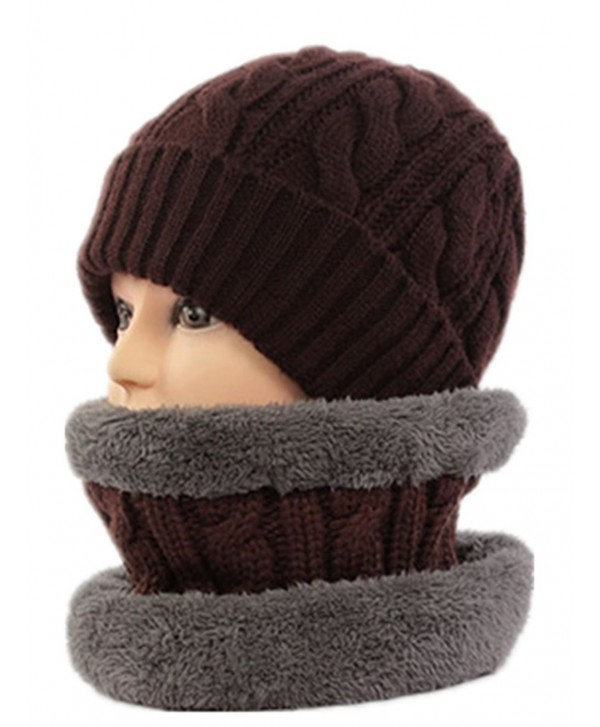 Unisex Cashmere and Knitted Neck Gaiter Hat Set Soft Neck Warmer Loop Scarf - Coffee - C111QZ1O8ML