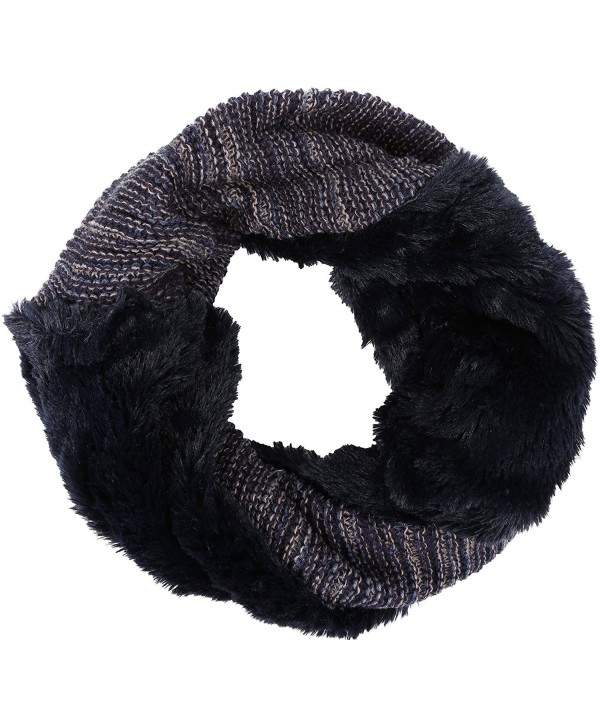 Sakkas Sele Short Two Textured Faux Fur Ribbed Knit Mixed Designed Infinity Scarf - Navy - CM12MWYCUEU