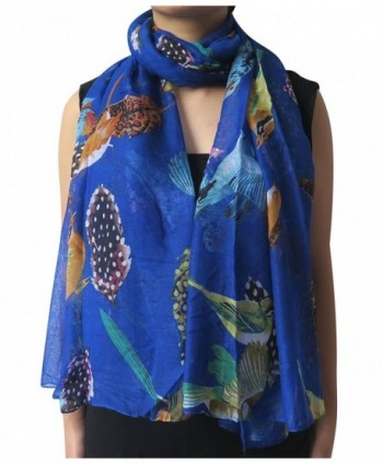 Lina & Lily Bird and Feather Print Oversized Scarf Lightweight - Royal Blue - CZ11XXA9L9B