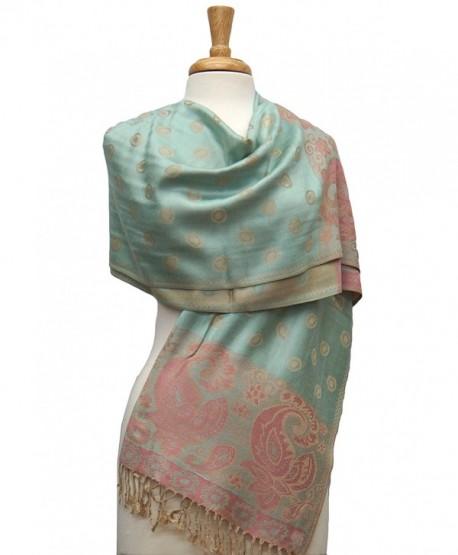 Fashmina Paisey Ring Pashmina Shawl Scarf - Honeydew/Beige - CA1864M2X2S