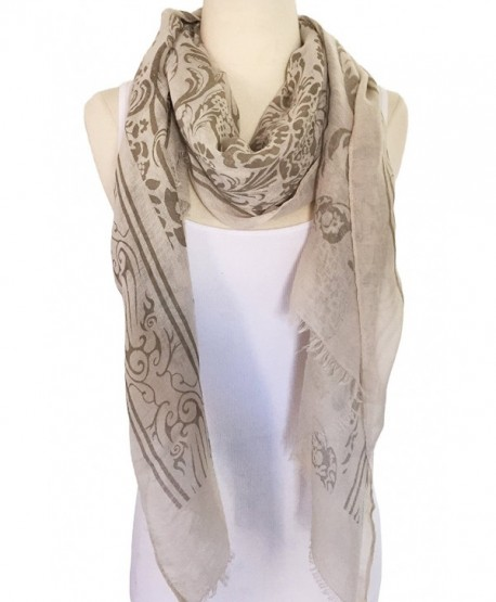 Women Lightweight Soft Printing Cotton Scarf Shawl - Light Brown - CL17XMOYNLG