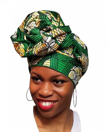 Green African Print Ankara Head wrap- Tie- scarf- Multicolor- One Size - CO12O0S4LQB