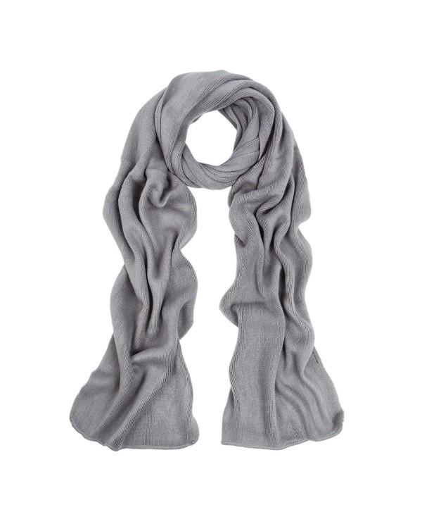 Premium Long Fine Knit Solid Color Warm Winter Scarf - Different Colors - Grey - C4127LE1C9H