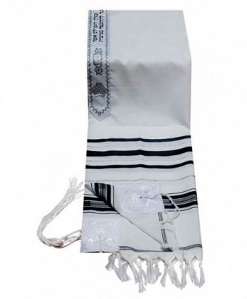 "Acrylic Tallit (Imitation Wool) Prayer Shawl in Black Stripes Size 24"" L X 72"" W - CK11763UTW5"