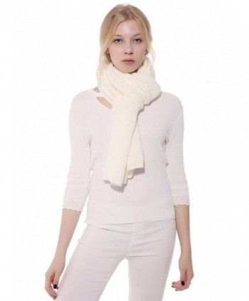 Anboor Luxurious Thick Knitted Scarf with Solid Color Super Warm Shawl for Women - White - CI12N19X4OX