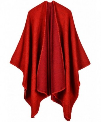 FEOYA Women's Solid Poncho Shawls Reversible Open Front Wrap Blanket Cardigant - Red - CW1867X7HHT