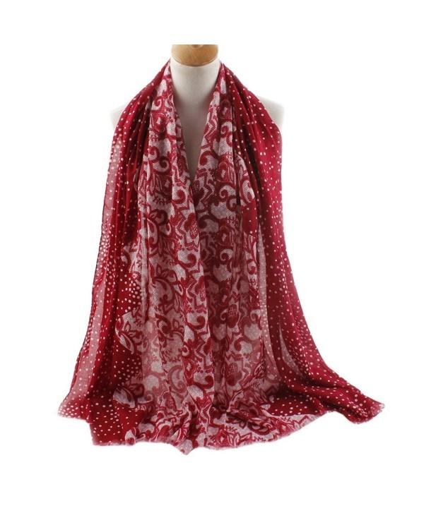 FEOYA Women Dot Floral Print Pashmina Scarves Silk Blend Long Beach Wrap Shawl - Red - CU12JWOHVCB