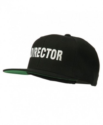 Director Embroidered Flat Bill Cap - Black - CD11V0OFV5L