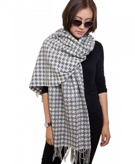 28'' x 78'' Womens Warm Wool Houndstooth Scarf Pashmina Shawl Plaid Muffler Wrap with Gift Box - Grey/white - CU128S9NHGZ