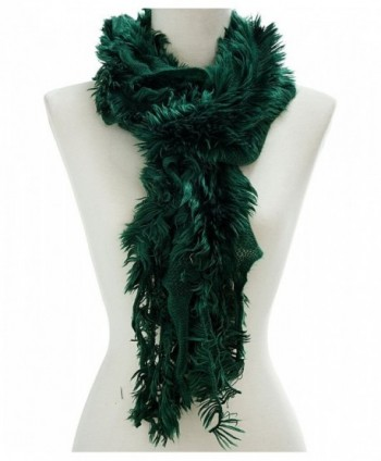 Ruffled Faux Fur Trimmed Scarf - Green - CB11Q41VG9Z