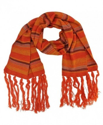 Bohemian Striped Knit Unisex Winter Scarf - Orange - CC11GQURSL9