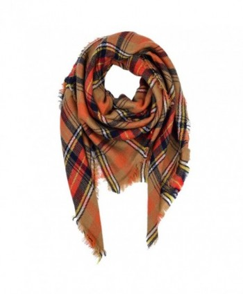 VBIGER Women Stylish Blanket Plaid Scarf Oversized Checked Shawls Wrap Shawl Pashmina - Orange - C9187QCWGKH