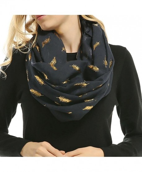 Women Soft Scarf Feather Print Lightweight Shawl Warm Bronzing Neck Wrap Scarves - Navy - CZ187WLH6RM