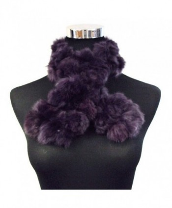 Angora Rabbit Fur Pom Balls Three Row Scarf Shawl Shrug Wrap--Purple - CX11BTPV0DX