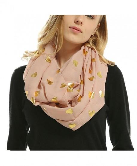 Women Soft Scarf Heart Shape Print Lightweight Shawl Bronzing Neck Wrap Scarves - Pink - CN187WGAWRM