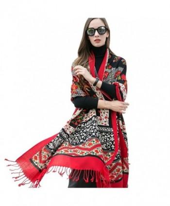 DANA XU 100% Pure Wool Women Scarf Large Size Pashmina - Red - CL1808Q9C67