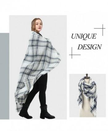 cb72b5074dc Blanket Scarf for Women Square Plaid Scarf Womens Winter Tartan Scarf Wrap  Shawl - H: White Blue Scarf - CJ186GW8MTI
