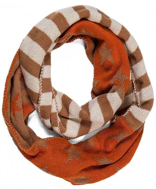 Aoloshow American Flag Scarf Infinity Knit Necktie Warmer - A Orange-White&Khaki - CQ126P6ZNUL