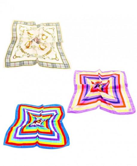 Vodeus Fashion Women's Satin Square Silk Multicolor Pattern Scarves Set of 3 Pcs - Set 11 - CA186LM7UO5