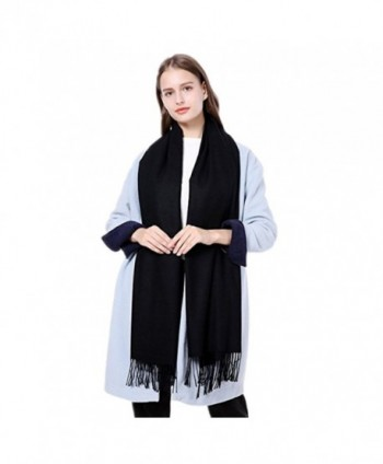 Women's Cashmere Scarves Shawls Super Soft Warm Scarf Winter Long Fashion Pure Color For Men - Black - CN188KNLM6H