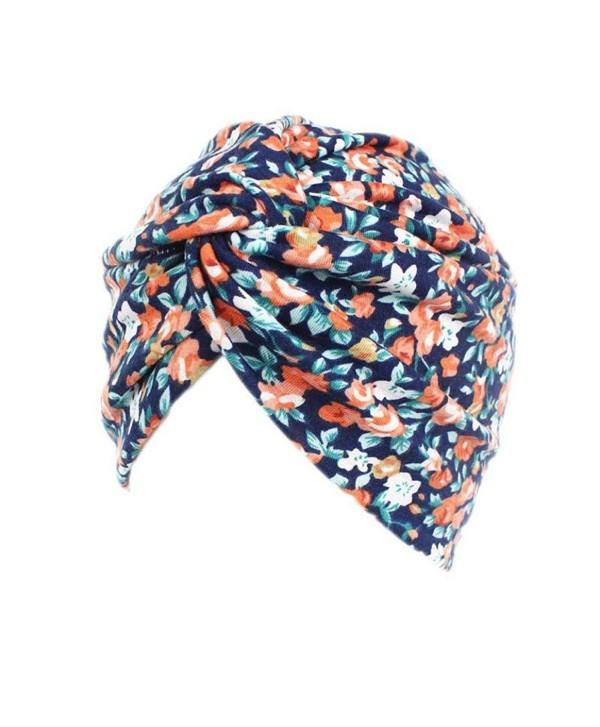 DEESEE Women Floral Cancer Chemo Hat Beanie Scarf Turban Head Wrap Cap - C - CD18529LLI4