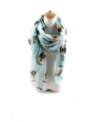ctshow Cute Pugs Print Voile Animal Print Scarf Fashionable Women Scarves - Sky Blue - CG183KNZQCA