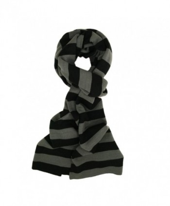 TrendsBlue Premium Soft Knit Striped Scarf - Different Colors Available - Gray & Black - CT116XP93LF
