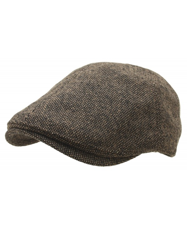 Men Tweed Homespun Ivy Flat Cap Woolen Newsboy Gatsby Hat Cabbie Driving - Brown - CQ12N9L1TL0