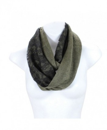 AN Winter Infinity Circle Scarf Delicate Black Floral Lace for Women - Olive - CL11GTSZ1FX