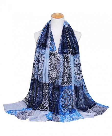 DEESEE(TM) Women Printing Long Soft Wrap Scarf Ladies Shawl Paris Yarn Scarves - Navy - C212MX9BY3I