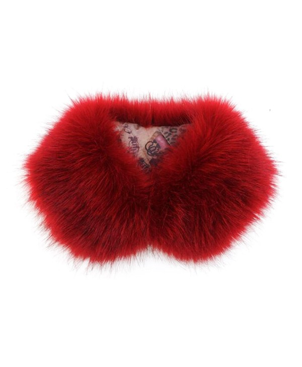 Easting Women's Collar Faux Chic Shawl Fur Scarf Collar Stole - Red Wine - C8126OZCX0B