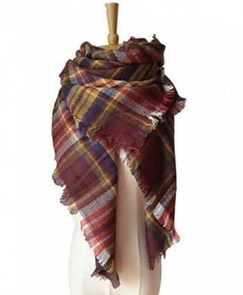 JOYEBUY Women's Warm Stylish Tassels Soft Plaid Tartan Scarf Large Blanket Wrap Shawl Valentine's Gift - Style 12 - CO1856D68KK