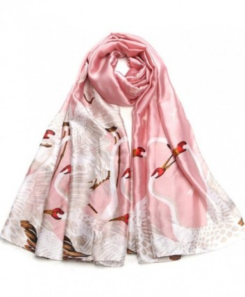 Sleep Koala Women Silk Scarf Large Satin Hair Scarves Fashion Pattern Wrap Shawl - Pink - C1186IULZ2H