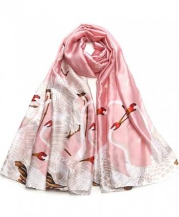 Sleep Koala Women Silk Scarf Large Satin Hair Scarves Fashion Pattern Wrap Shawl - Pink - C1186IULZ2H