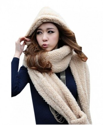 Xinliya Unisex Fleece Long Hooded Scarf Gloves Pocket Earflap Hat Snood Wraps - Beige - CP11R010CQB