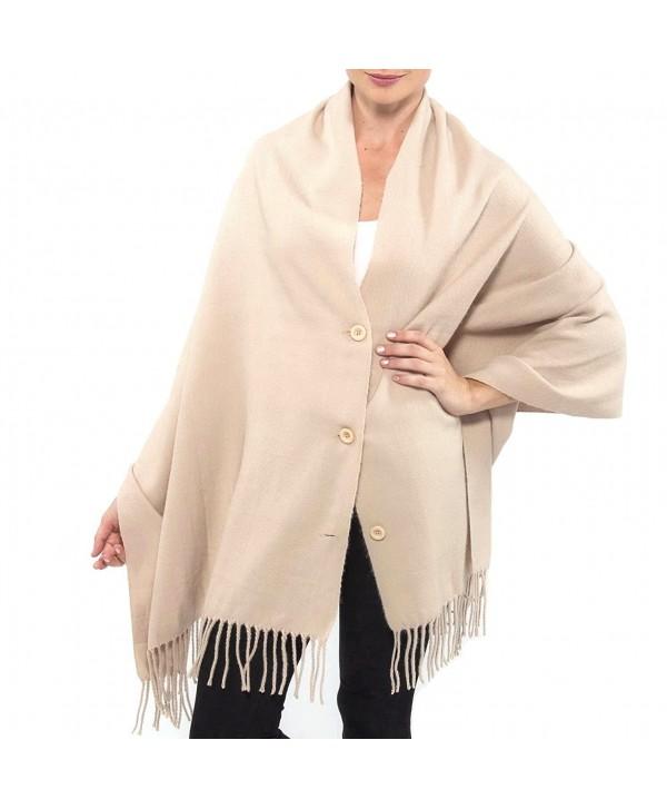 Alpine Swiss Women's Pashmina Button Up Shawl Cape Poncho Blanket Scarf Wrap - Beige - C21284AETGJ