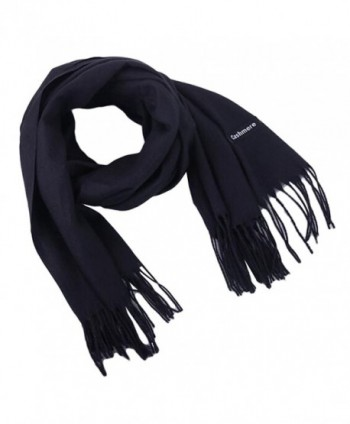 Earlish Men's Pashmina Scarf Solid Color Soft Cozy Cashmere Feel Warm Winter Scarf - Black - C3188ZC375I